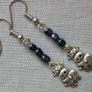 Cow Charm Grey Glass Bead Earrings
