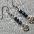 Love My Cat Heart Charm Grey Glass Bead Earrings
