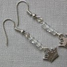 Princess Crown Charm Clear Glass Bead Earrings