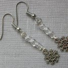 Snowflake 8 Sided Charm Clear Glass Bead Earrings