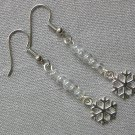 Snowflake 6 Side Charm Clear Glass Bead Earrings