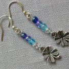 Blue Ombre Clover Charm Glass Bead Earrings