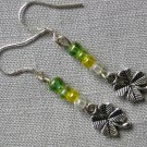 Green Ombre Clover Charm Glass Bead Earrings