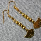 Gold Bird Charm Small Bead Earrings