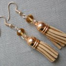Rose Gold Light Brown Crystal Bead Tassel Earrings