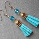Rose Gold Aqua Blue Crystal Bead Tassel Earrings