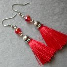 Silver Red Crystal Bead Tassel Earrings