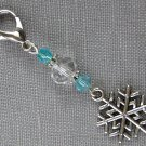 Snowflake Purse Zipper Charm Aqua Bicone Crystal Bead