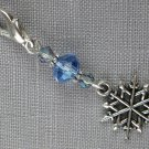 Snowflake Purse Charm Grey Bicone Blue Crystal Bead
