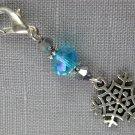 Snowflake Purse Zipper Charm Silver Bicone Aqua Crystal Bead