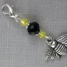 Bee Purse Zipper Charm Black Yellow Bicone Crystal Bead