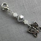 Butterfly Purse Zipper Charm Silver White Bicone Crystal Bead
