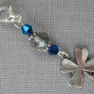 Clover Purse Charm Grey Peacock Blue Bicone Crystal Bead