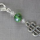 Money Purse Zipper Charm Green Clear Bicone Crystal Bead