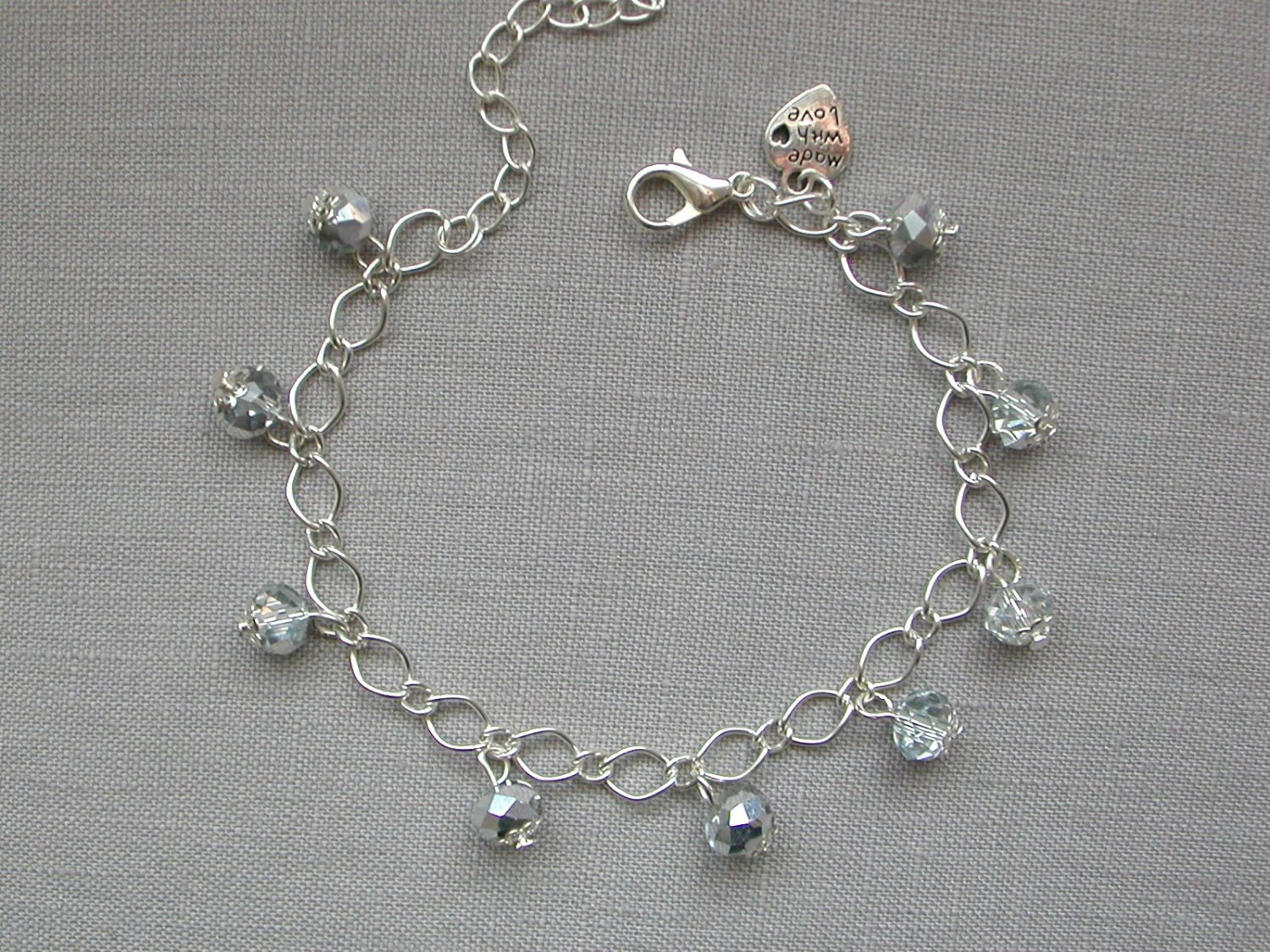 Crystal Bead Chain Link Bracelet Your Choice in Colors DIY