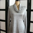 Focus 2000 silver grey cowl handkerchief tunic long sleeve top small