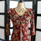 J.T.B. red orange brown flower floral empire ruffle 3/4 sleeve top small