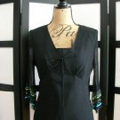 Spenser Jeremy black empire silk blue green ribbon 3/4 sleeve top medium