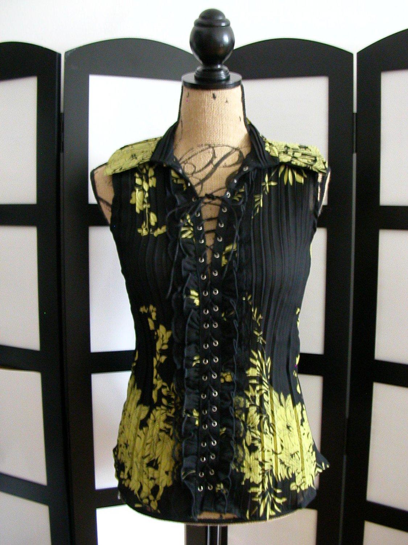 Dress U black yellow flower ruffle lace grommet tie sleeveless top S