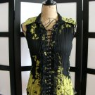 Dress U black yellow flower ruffle lace grommet tie sleeveless top small
