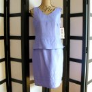 Robbie Bee blue violet purple beaded silk tank and skirt set size 6