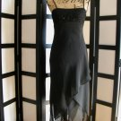 Eva Blue black bead handkerchief asymmetrical empire black dress size 6