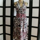 WDNY red white black swirl ruched halter silk dress size 4
