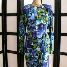 Retro S Roberts blue floral raglan long sleeve wrap dress 11/12