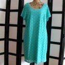 Ronni Nicole aqua blue lace eyelet short sleeve sheath dress 1X