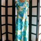 Premier International aqua blue floral princess seam maxi dress small