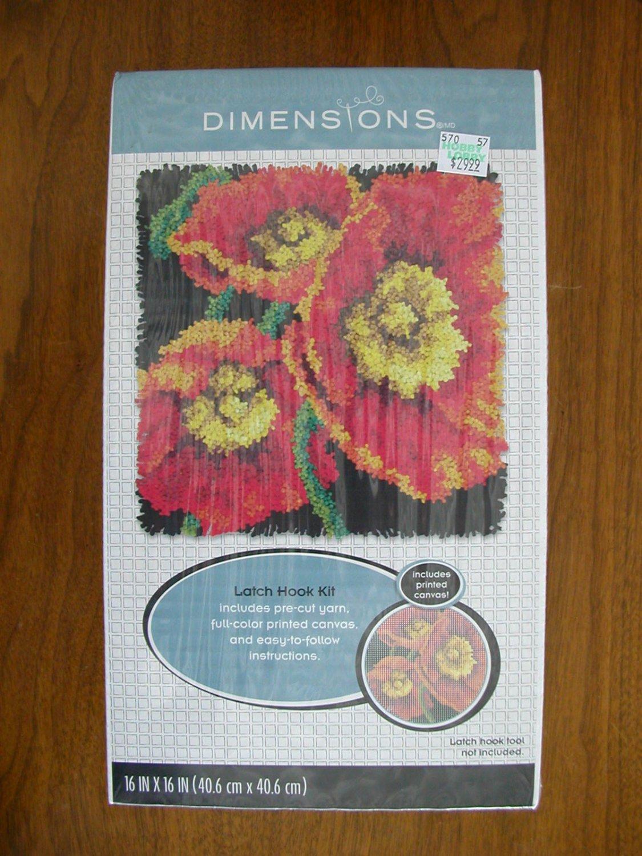 Dimensions Poppies flower latch hook rug kit 72-75205