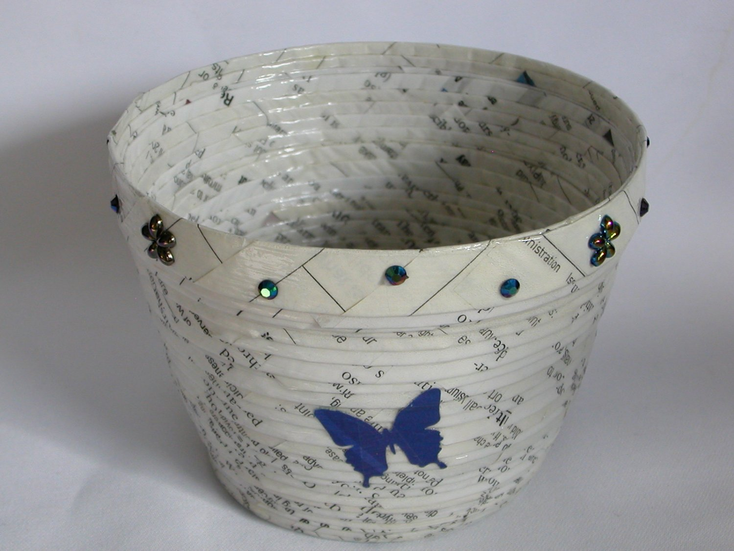 Recycled magazine bowl white and black print purple butterfly 3.25x4.25