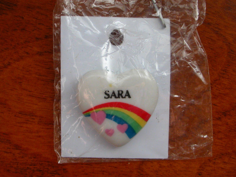 Sara name pin ceramic heart rainbow vintage