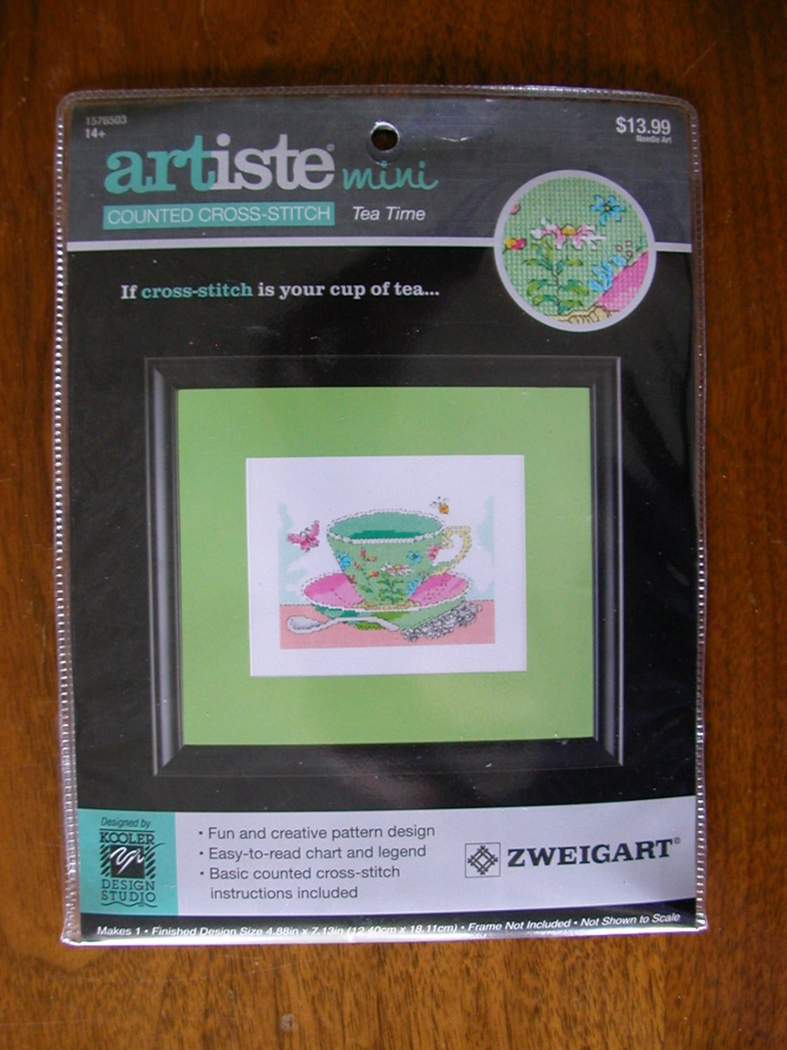 Artiste Mini Tea Time teacup flower butterfly counted cross stitch kit 1576503