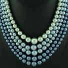 Japan 5 Strand Blue Beaded Necklace Nec2019