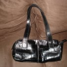 Fossil Brand Black Leather Croc Imprint Handbag--Limited Lower Price!!!