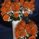 84 Silk Rose Flowers with Raindrops-Wedding Roses Flowers - Deep Orange