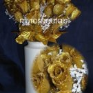 84 Silk Rose Flowers with Raindrops-Wedding Roses Flowers - Gold