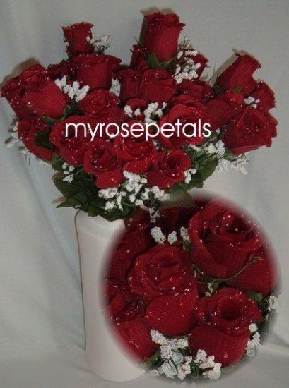 84 Silk Rose Flowers with Raindrops-Wedding Roses Flowers - Burgundy