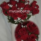 84 Silk Rose Flowers with Raindrops-Wedding Roses Flowers - Burgundy