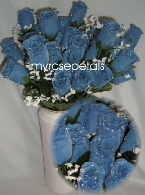 84 Silk Rose Flowers with Raindrops-Wedding Roses Flowers - Periwinkle