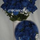 84 Silk Rose Flowers with Raindrops-Wedding Roses Flowers - Royal Blue