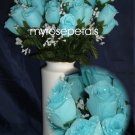 84 Silk Rose Flowers with Raindrops-Wedding Roses Flowers - Sky Blue