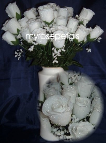 84 Silk Rose Flowers with Raindrops-Wedding Roses Flowers - White