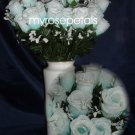 84 Silk Rose Flowers with Raindrops-Wedding Roses Flowers - Aqua/White