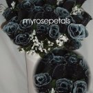 84 Silk Rose Flowers with Raindrops-Wedding Roses Flowers - Black/White
