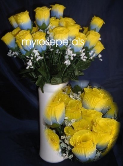 84 Silk Rose Flowers with Raindrops-Wedding Roses Flowers - Blue/Yellow