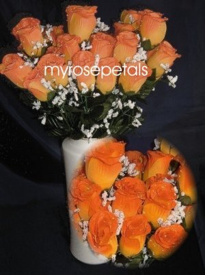 84 Silk Rose Flowers with Raindrops-Wedding Roses Flowers - Double Orange