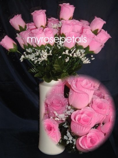 84 Silk Rose Flowers with Raindrops-Wedding Roses Flowers - Double Pink