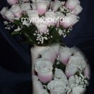 84 Silk Rose Flowers with Raindrops-Wedding Roses Flowers - Dusty Rose/White